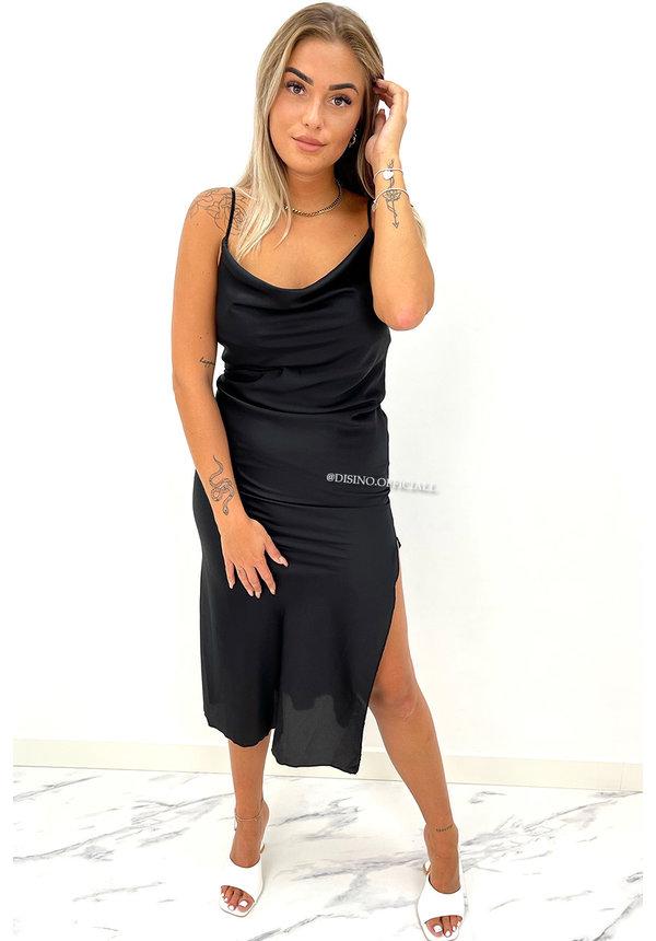 BLACK - 'SELMA' - SATIN DROP DRESS