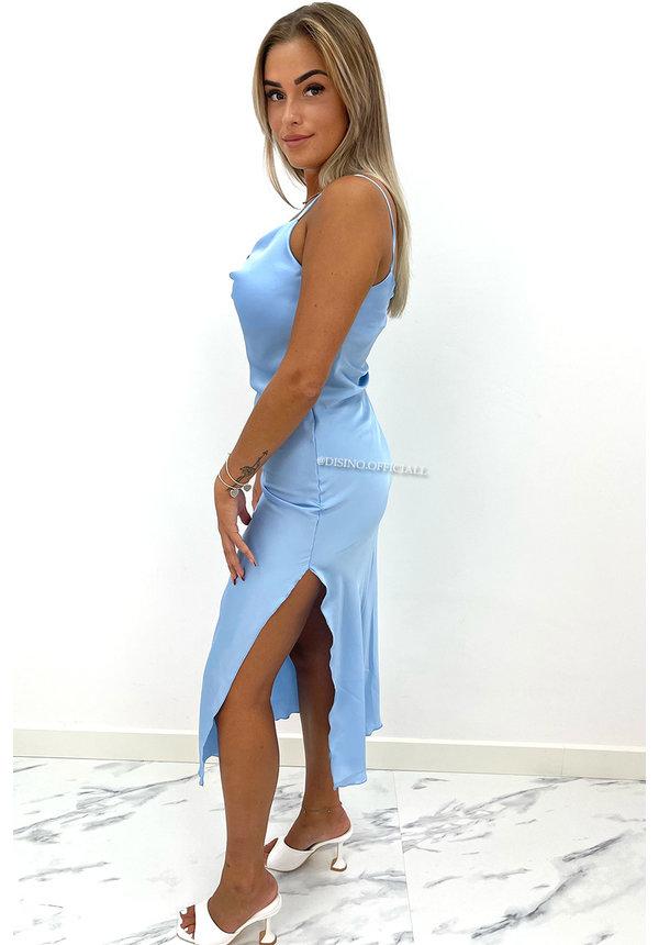 LIGHT BLUE - 'SELMA' - SATIN DROP DRESS