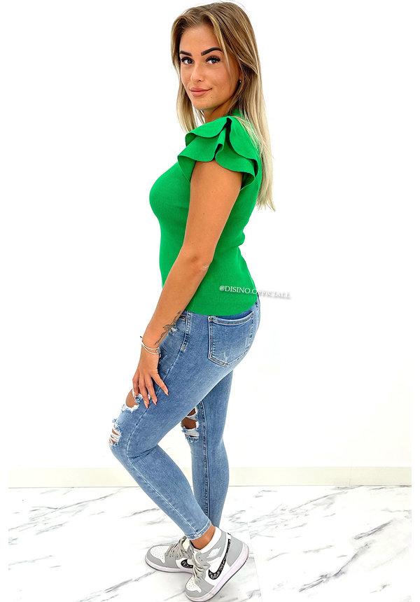 GREEN - 'MIYA' - PREMIUM QUALITY RUFFLE TOP
