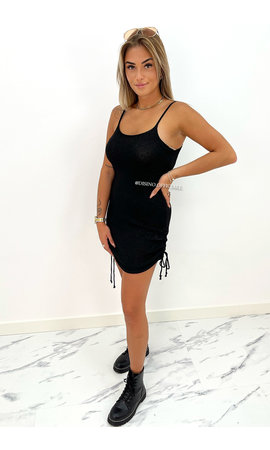 BLACK - 'MILA-ELISE DRESS' - CABLE KNIT SPARKLE DRESS