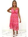 RED - 'MEREL  DRESS' - FLORAL RUFFLE SPAGHETTI DRESS