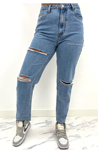 REDIAL - BLUE - HIGH WAIST RIPPED MOM JEANS - 1266