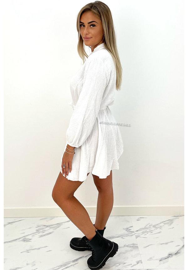 WHITE - 'JOAN' - LONG SLEEVE WAFFLE BLOUSE DRESS