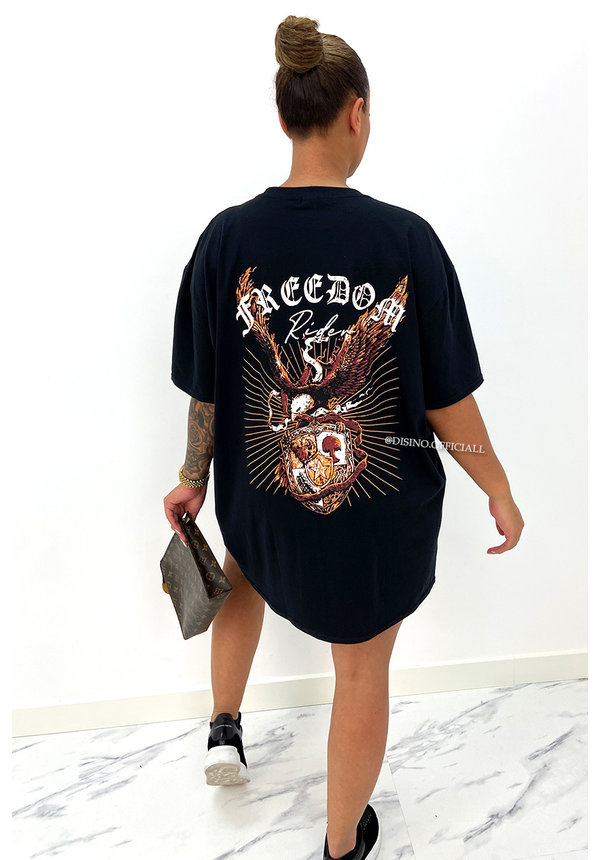 BLACK - 'FREEDOM RIDER'  - PREMIUM QUALITY ANGELS TEE DRESS