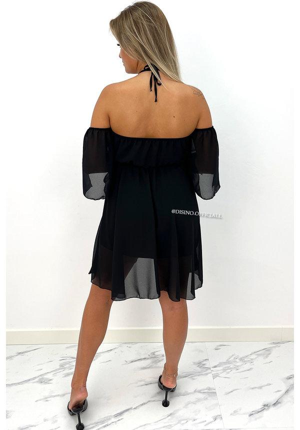 BLACK - 'LUCIA' - OFF SHOULDER A LINE DRESS