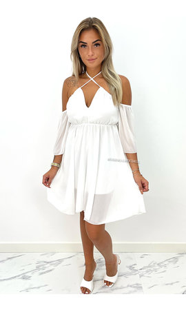 WHITE - 'LUCIA' - OFF SHOULDER A LINE DRESS