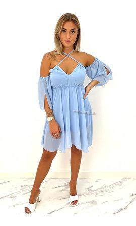 LIGHT BLUE - 'LUCIA' - OFF SHOULDER A LINE DRESS