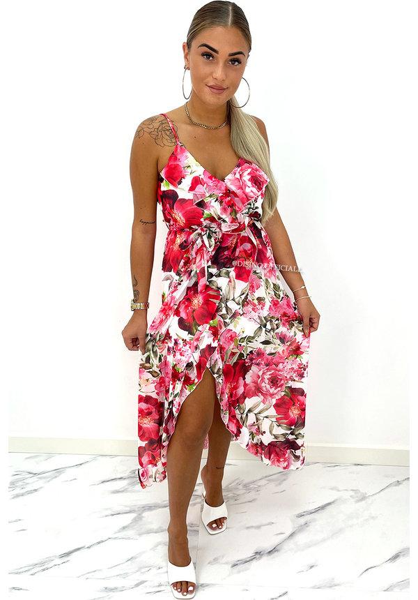 RED - 'SUSAN' - FLORAL RUFFLE SPAGHETTI PRINT DRESS