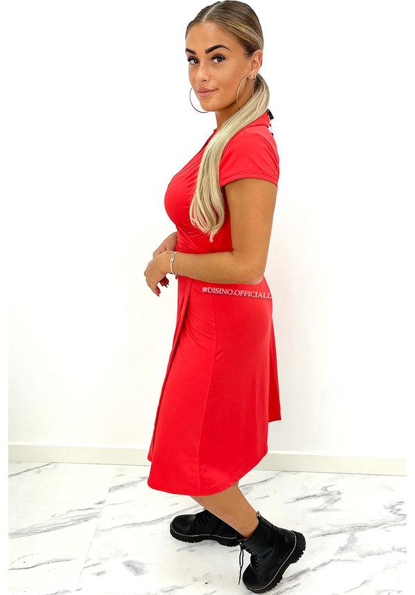 RED - 'FREYA' - TRAVEL WIKKEL MIDI DRESS