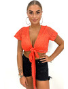 CORAL - 'AMARA KNOT TOP' - LACE WIKKEL TOP