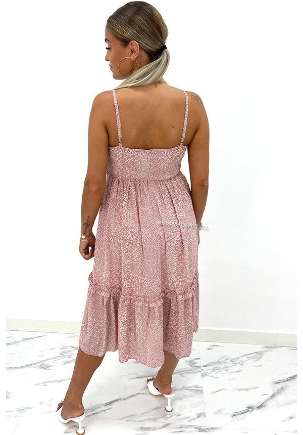 SOFT PINK - 'LINDA' - LEOPARD PRINT V-NECK MAXI DRESS
