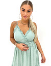 MINT GREEN - 'LINDA' - LEOPARD PRINT V-NECK MAXI DRESS