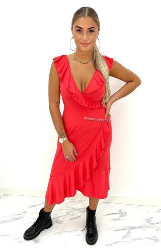 RED - 'BELLA' - PREMIUM QUALITY TRAVEL RUFFLE WIKKEL DRESS