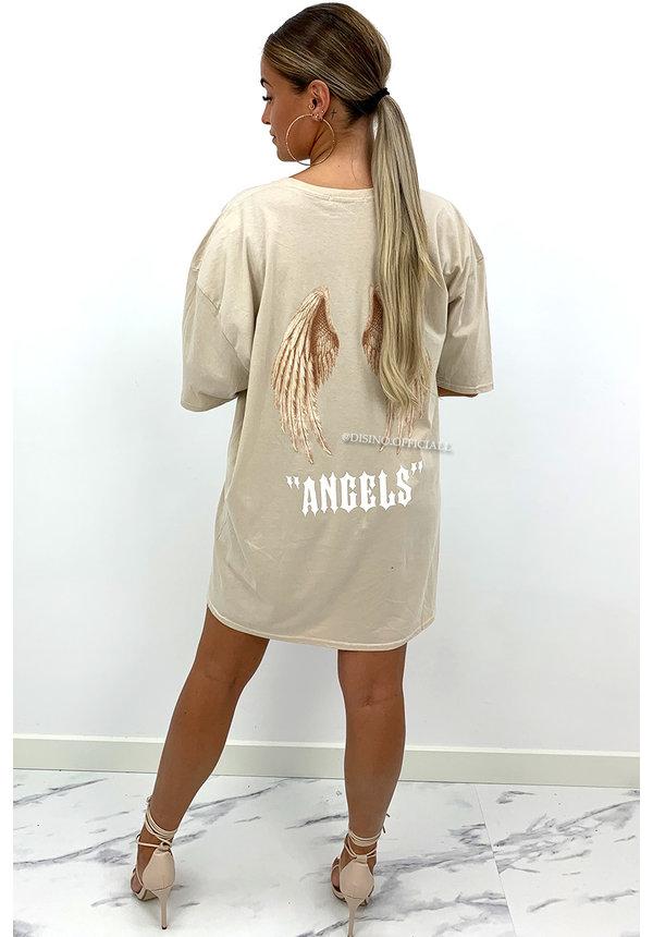 BEIGE - 'ANGEL ON MY BACK'  - PREMIUM QUALITY ANGELS TEE DRESS