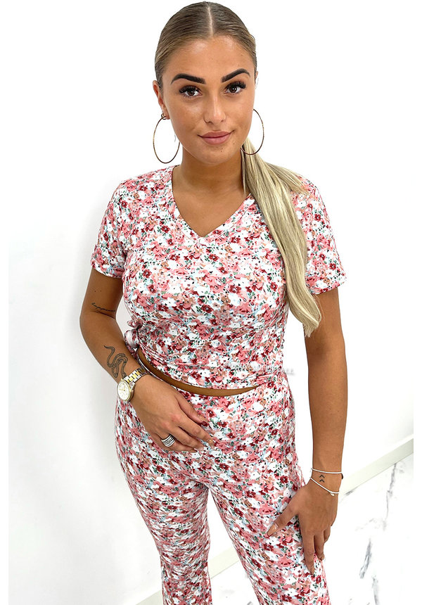 PINK - 'DYLANA' - SOFT TOUCH FLARE FLORAL TWO PIECE SET