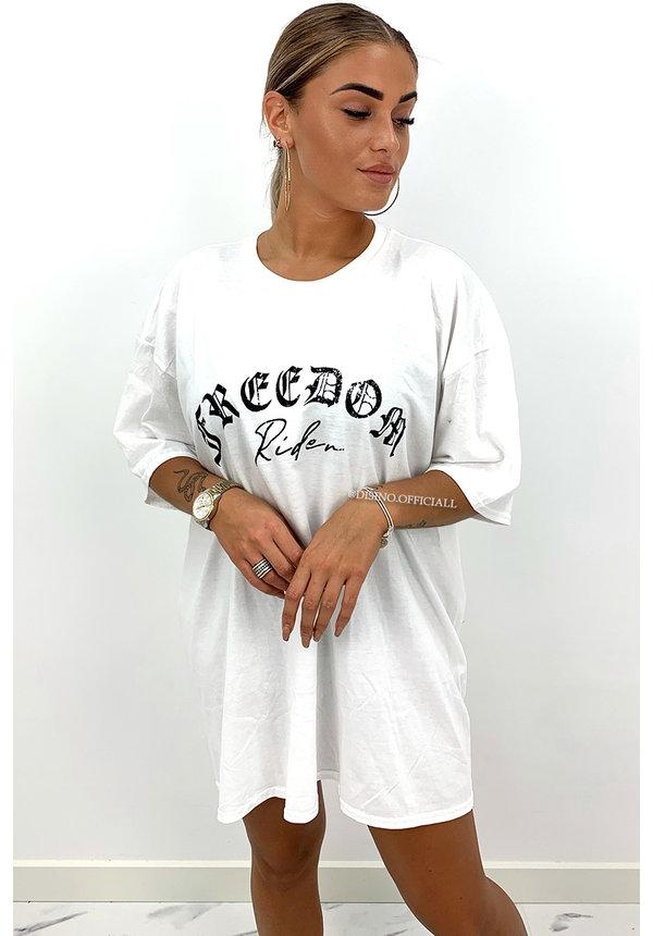 WHITE - 'FREEDOM RIDER'  - PREMIUM QUALITY ANGELS TEE DRESS