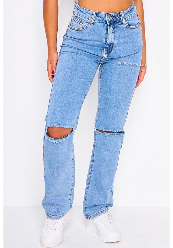 BLUE - SUPER STRETCH HIGH WAIST BOOTY CUT STRAIGHT FIT JEANS - 017