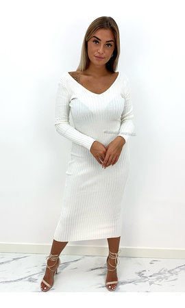 WHITE - 'JAZZY V2' - PREMIUM QUALITY RIBBED V-NECK DRESS