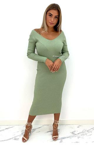 GREEN - 'JAZZY V2' - PREMIUM QUALITY RIBBED V-NECK DRESS