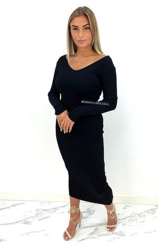 BLACK - 'JAZZY V2' - PREMIUM QUALITY RIBBED V-NECK DRESS