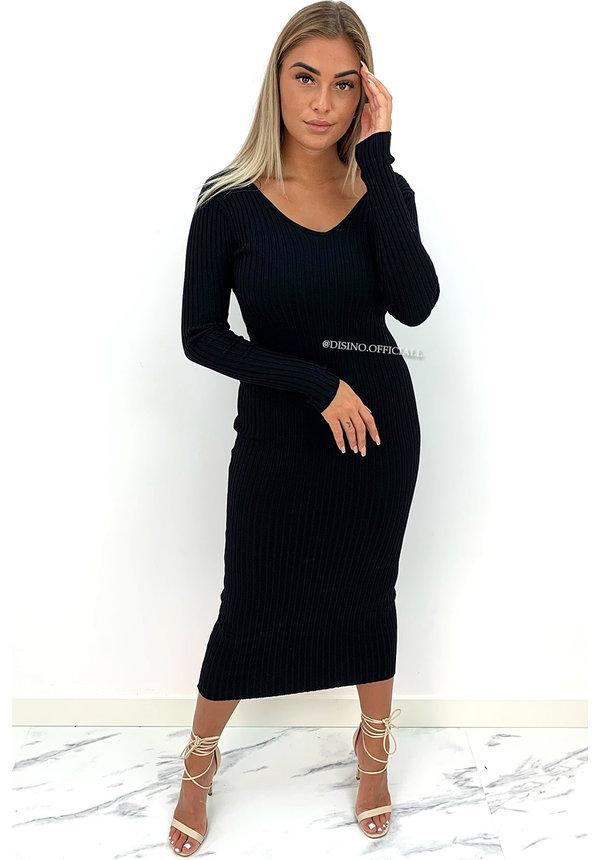 BLACK - 'JAZZY MAXI V2' - PREMIUM QUALITY RIBBED V-NECK DRESS