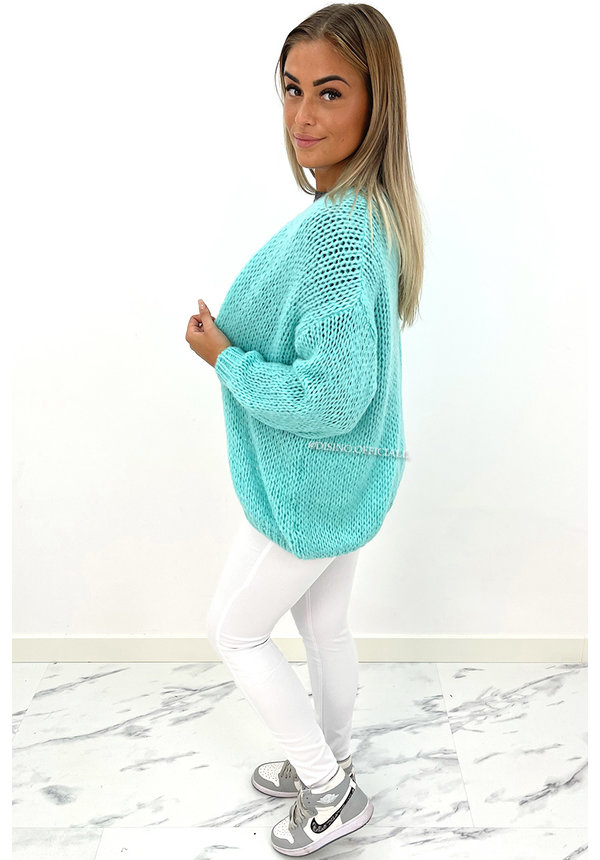 TURQUOISE - 'ADRIANA' - COZY KNITTED BALLOON VEST