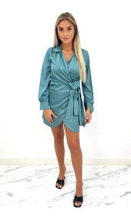 BLUE - 'COCO' - SATIN WRAP-ON LONG-SLEEVE DRESS