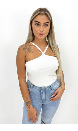 WHITE - 'SOPHIE' - RIBBED CROSS TOP