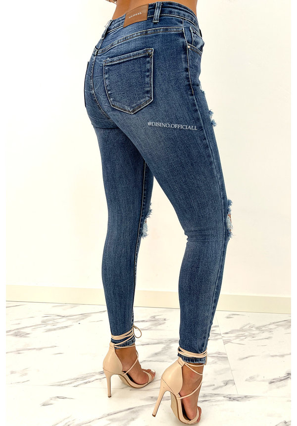 REDIAL - DARK BLUE - PERFECT RIPPED HIGH WAIST SKINNY JEANS - 6780