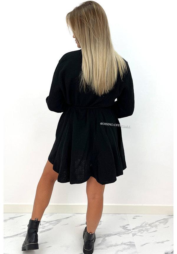 BLACK - 'JOAN' - LONG SLEEVE WAFFLE BLOUSE DRESS