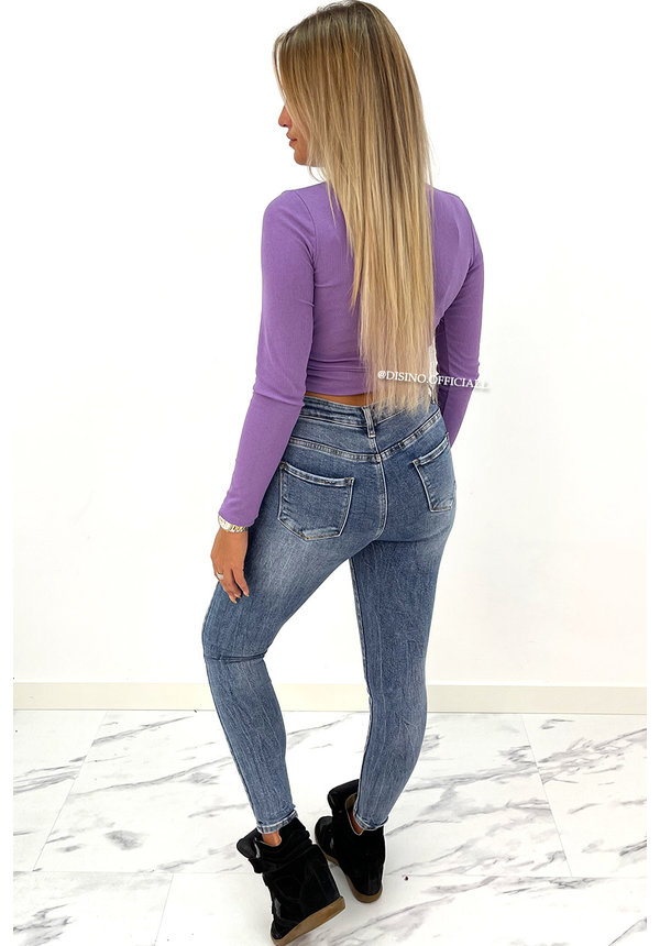 PURPLE - 'FAY' - RIBBED RUCHED LONG SLEEVE TOP