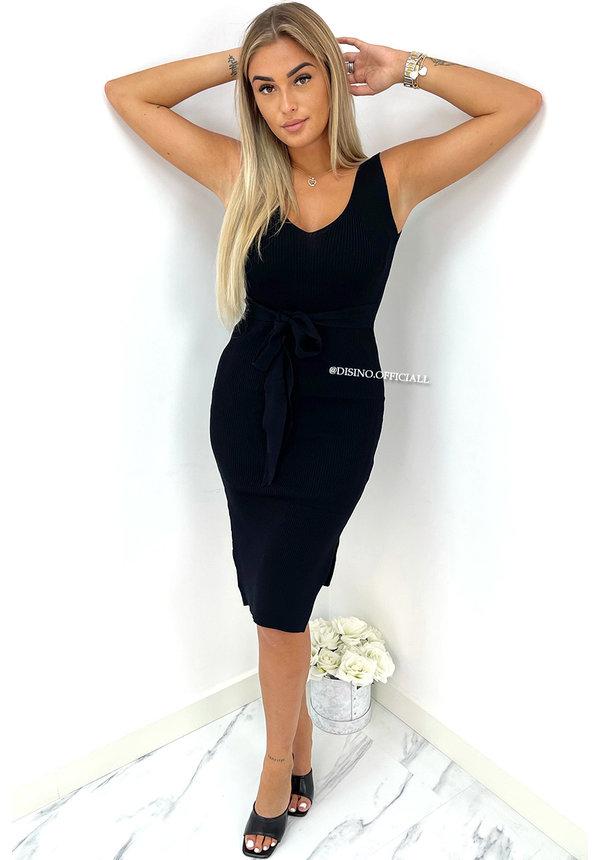 BLACK - 'SHADEY' - RIBBED KNOT ON BODYCON DRESS