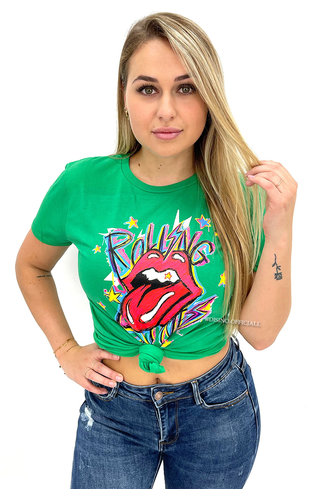 GREEN - 'ROLLING STONES' - INSPIRED GRAPHIC TEE
