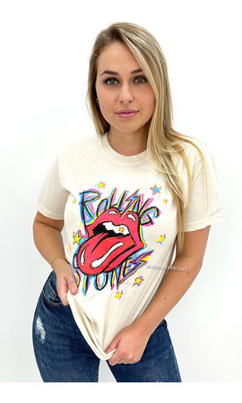 OFF WHITE - 'ROLLING STONES' - INSPIRED GRAPHIC TEE