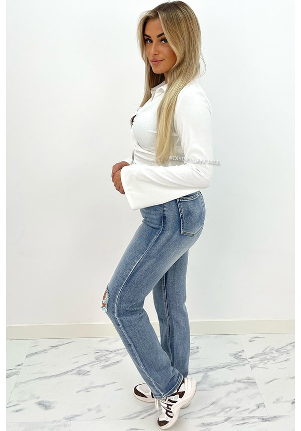 WHITE - 'LYA' - BELL SLEEVE RIBBED STRETCH TOP