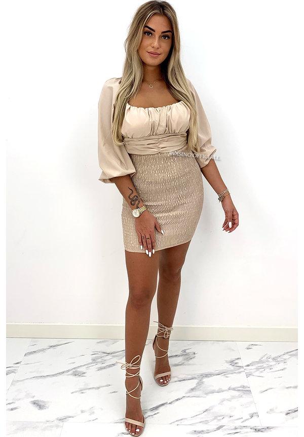 BEIGE - 'SARAH' - OFF SHOULDER LONGSLEEVE DRESS