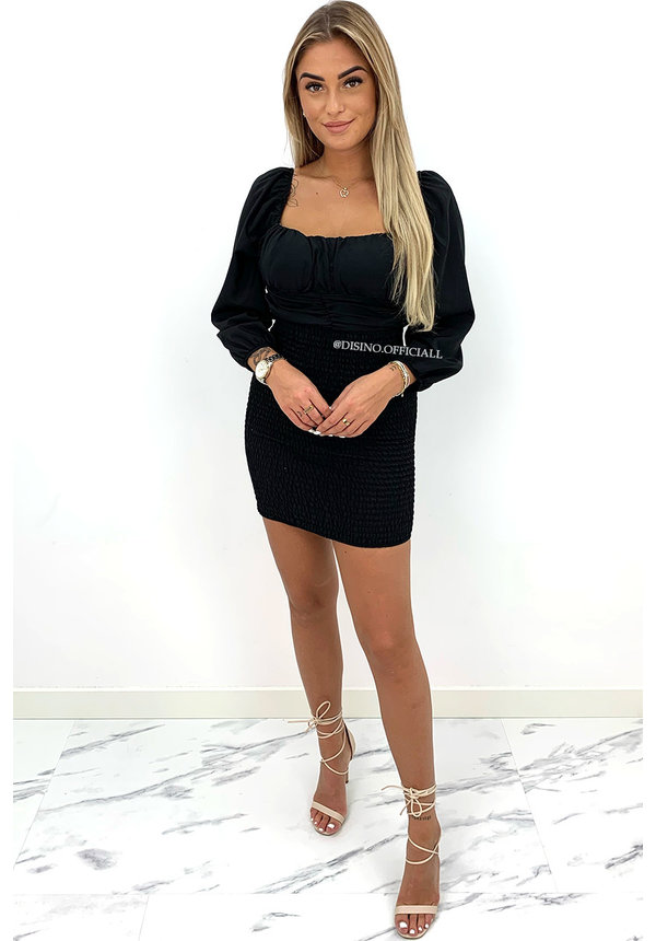 BLACK - 'SARAH' - OFF SHOULDER LONGSLEEVE DRESS