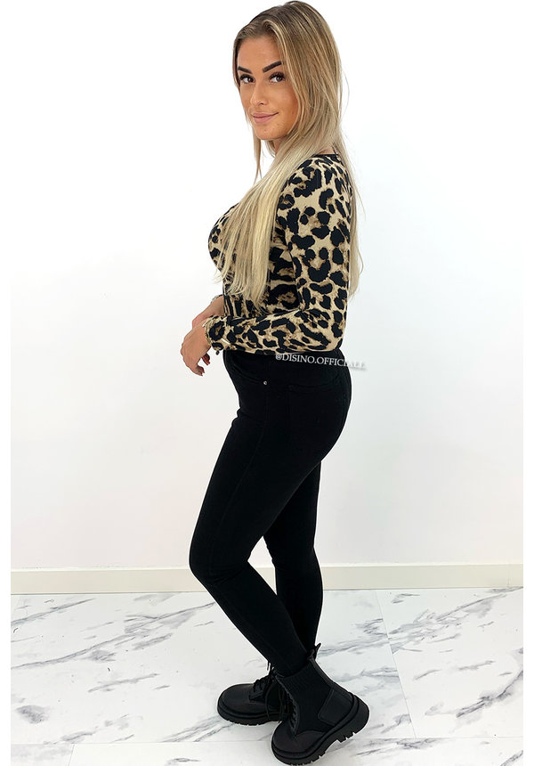 LEOPARD - 'NICOLE SQUARE' - PERFECT FIT LONG SLEEVE TOP