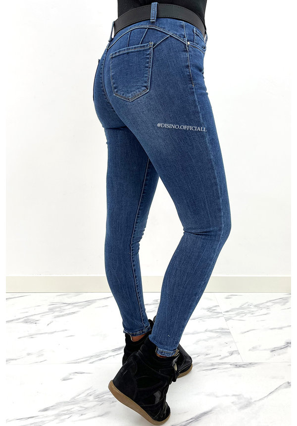 REDIAL - DARK BLUE - PERFECT PUSH UP SKINNY JEANS - 6932