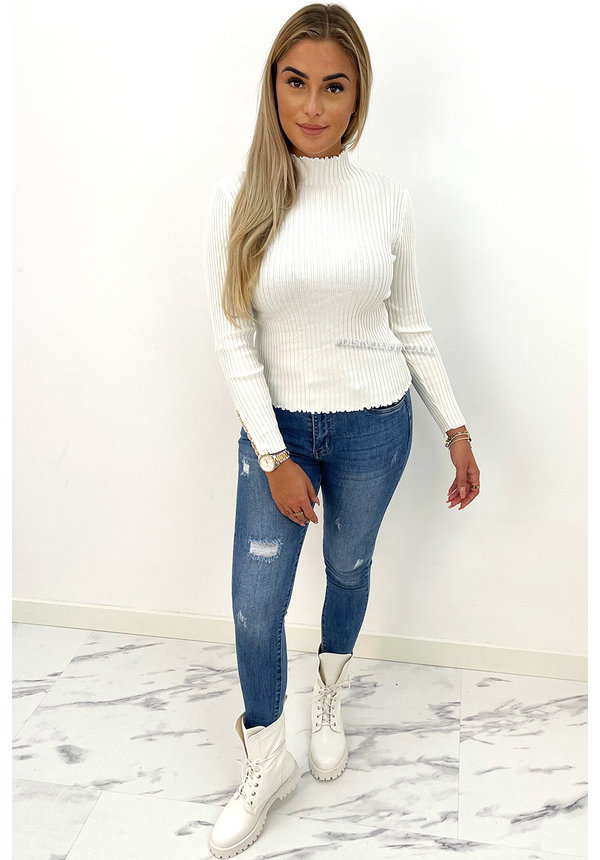 WHITE - 'JILL' - TURTLE NECK RIBBED TOP