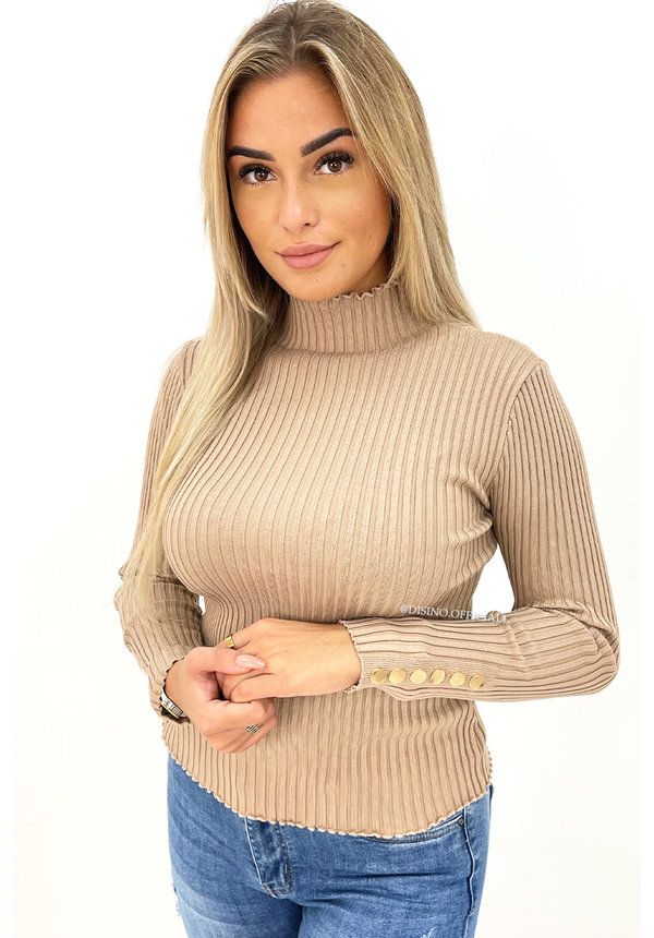 NUDE - 'JILL' - TURTLE NECK RIBBED TOP