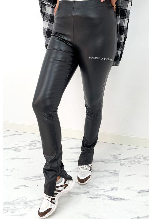 BLACK - 'LEATHER NOELLE' - HIGH WAIST VEGAN LEATHER SIDE SPLIT PANTS