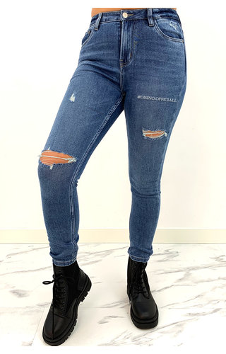 QUEEN HEARTS JEANS - DARK BLUE - RIPPED SKINNY HIGH WAIST TREGGING JEANS - 857