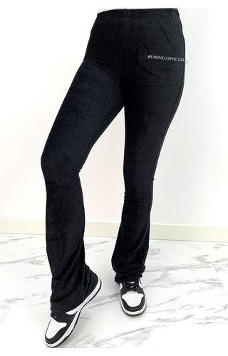 BLACK - 'KYRA' - VELVET RIBBED FLARED PANTS