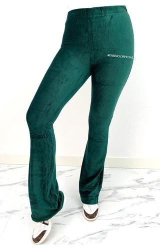 GREEN - 'KYRA' - VELVET RIBBED FLARED PANTS