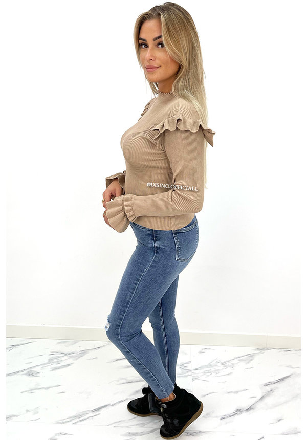 NUDE - 'LIES TOP' - PREMIUM QUALITY RIBBED RUFFLE TOP