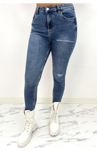 QUEEN HEARTS JEANS - MEDIUM BLUE - HIGH WAIST PERFECT SKINNY JEANS  - 932