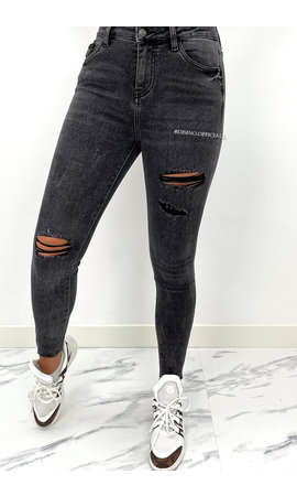 QUEEN HEARTS JEANS - DARK GREY - HIGH WAIST RIPPED SKINNY JEANS - 830
