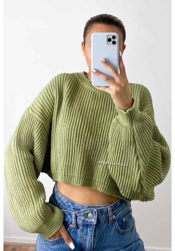 GREEN - 'OLIVIA KNIT' - OVERSIZED CROPPED KNIT SWEATER