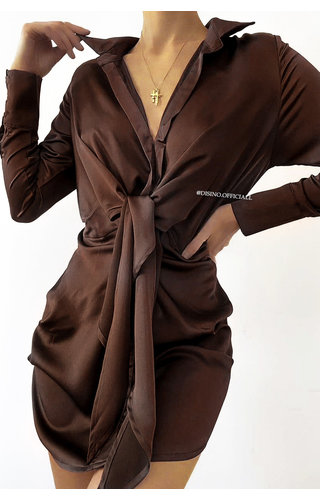 CHOCO - 'CLAIRE' - SILKY KNOT BLOUSE DRESS